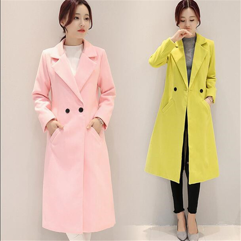 S Ab59 xxl Mode Automne Grand De Yards Veste Slim Long Femmes Casual Hiver pink Nouvelle black Mince coréen Red Laine Manteau yellow 2018 Coton HpwT8UqU