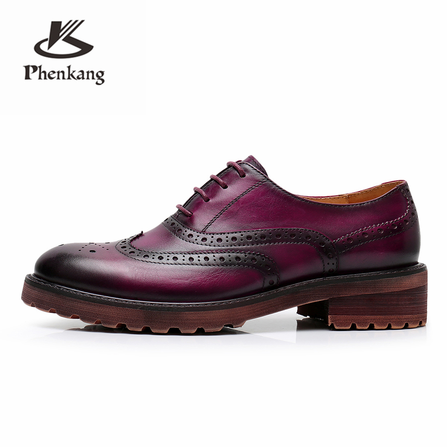 Fux Mouton De À Richelieu Designer Main Dark Blue La Appartements Oxford Femmes Cuir brown purple Chaussures Vintage En Peau Yinzo Violet forme Plat Véritable Plate 7EW5wnqHx