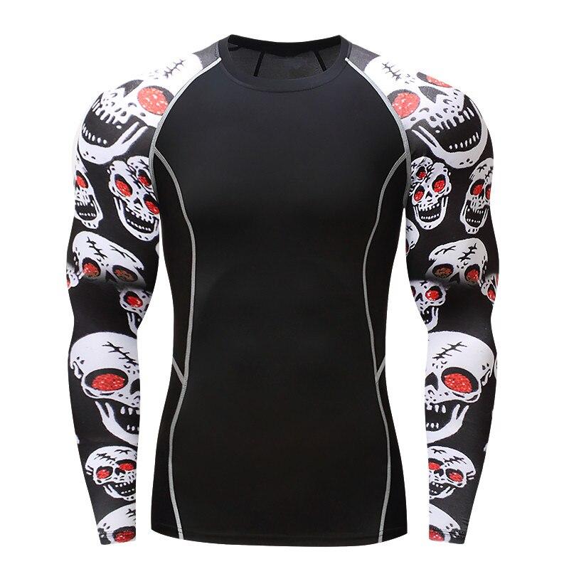 017Men Compression Shirts MMA Rashguard Fit Halten Fitness Mit Langen Ärmeln Base Layer Skin Tight Gewichtheben Elastic Herren T Shirts