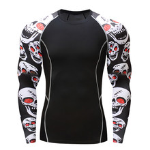 017Men Compression Shirts MMA Rashguard Keep Fit Fitness Long Sleeves Base Layer Skin Tight Weight Lifting Elastic Mens T Shirts