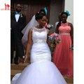 Boat Neck Tulle sereia vestidos de noiva 2016 Applique frisada vestido de noiva sheer Neck Custom trem da varredura do casamento vestidos de noiva