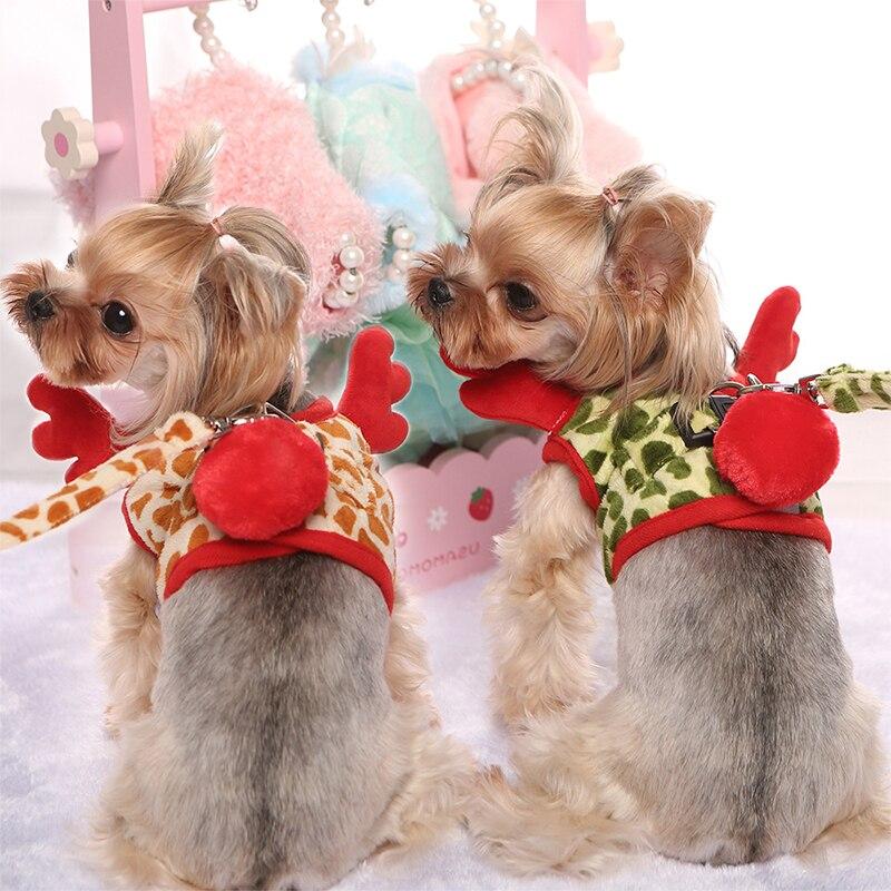 New Adjustable Small Dog Deer Harness Leash Set High-quality Pet Vest Easy Walking Out Harness Chest Back Traction Belt Hot Sale