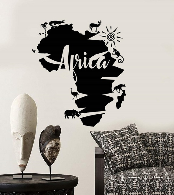 Vinyl wall applique abstract Africa continent map Africa animal sticker art sticker living room bedroom home decor 2DT2