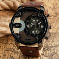 2017 New Big Dial Men Watch Date Display Male Wrist Quartz Watch Stylish Army Pilot Ourdoor Analog Military Brown Leather Strap