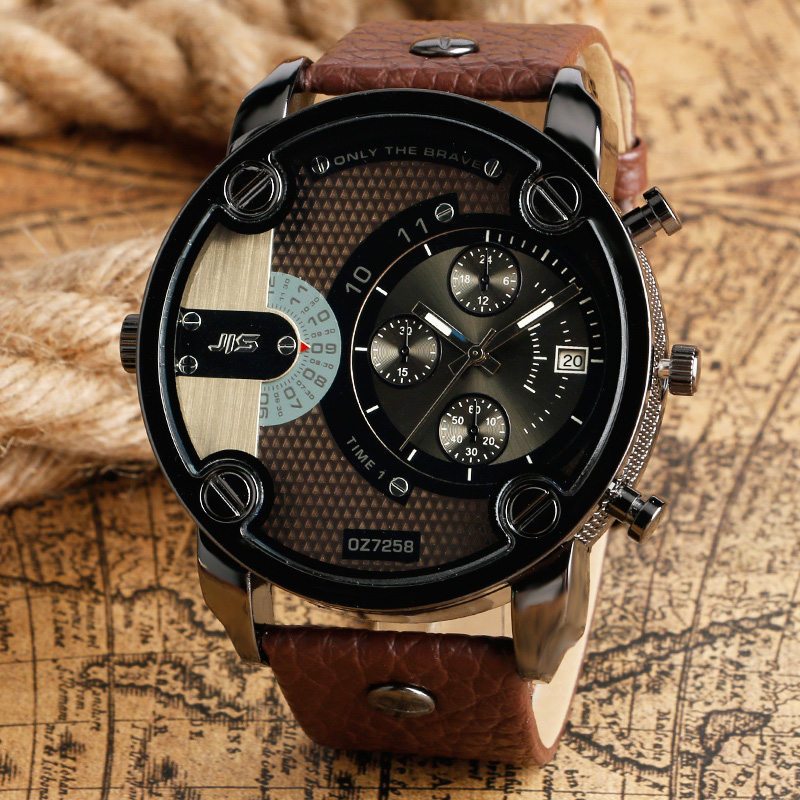 2017 New Big Dial Men Watch Date Display Male Wrist Quartz Watch Stylish Army Pilot Outdoor Analog Military Brown Leather Strap new forcummins insite date unlock proramm