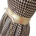 Pop Sexy Female Soft Leather Wide Self Tie Wrap Around Waist Band Dress Belt For Lady Woman