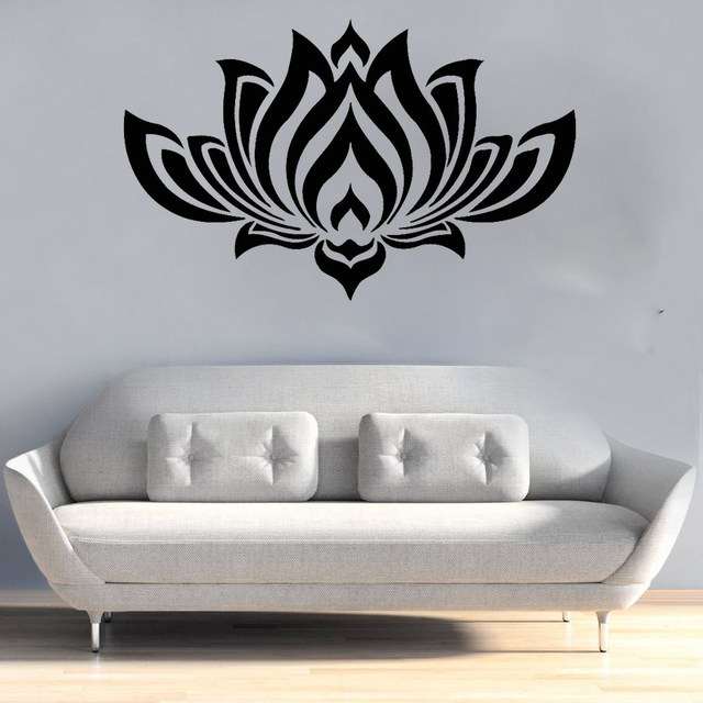 Perfect Quality Black Wall Decals Bedroom Yoga Studio Decal Lotus Flower  Vinyl Sticker Home Decor Living Room Wall Stickers S138
