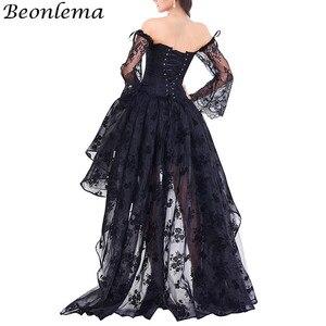 Image 4 - BEONLEMA Corset en dentelle avec manches longues, tenue Sexy gothique, noir, Bustier, rouge, Steampunk, vêtement de grande taille