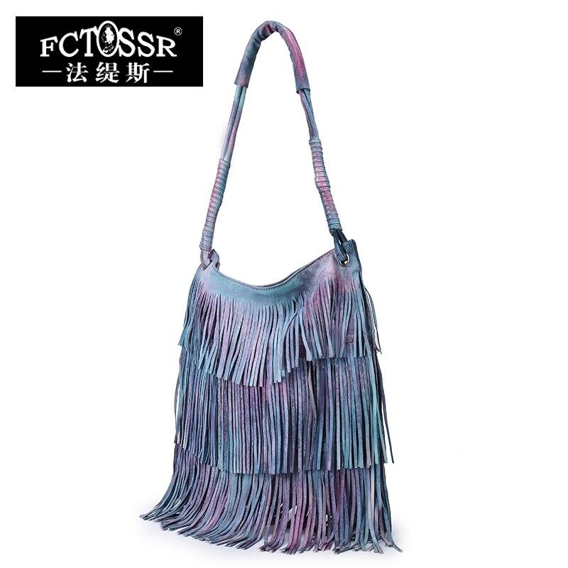 Leather Tassel Handbags 2019 New Models Shoulder Women Bag Vintage Handmade Genuine Leather Hobos Messenger Bag