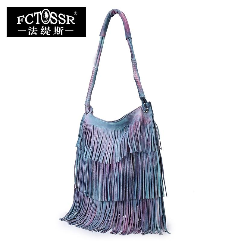 цены Leather Tassel Handbags 2018 New Models Shoulder Women Bag Vintage Handmade Genuine Leather Hobos Messenger Bag