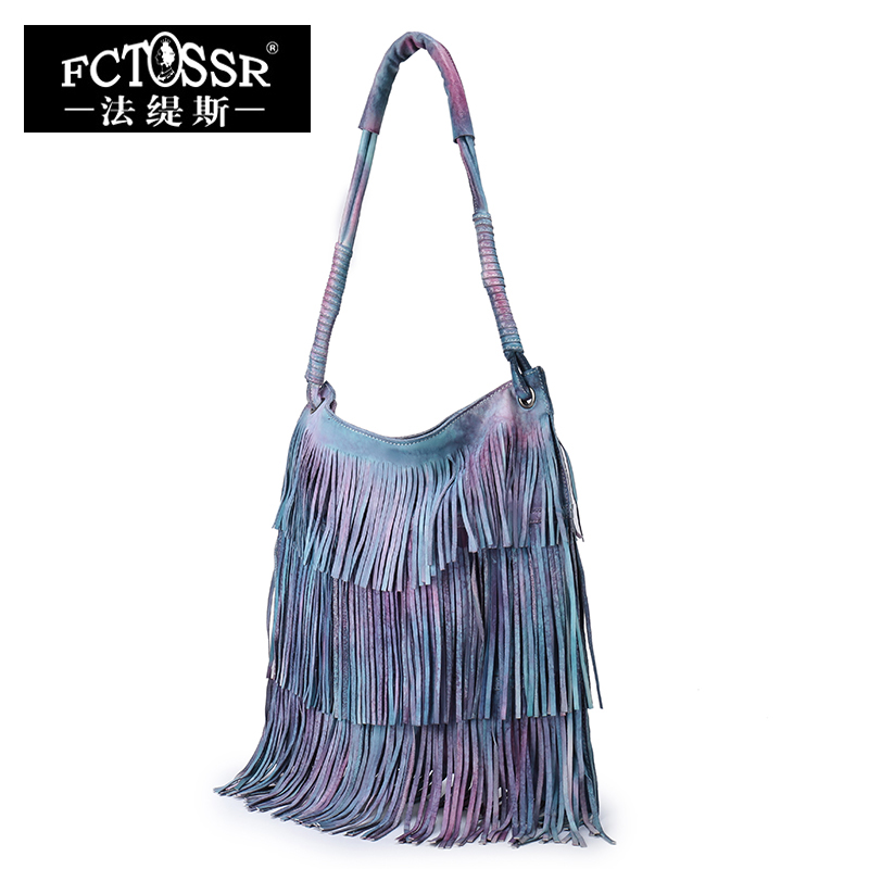 Leather Tassel Handbags 2019 New Models Shoulder Women Bag Vintage Handmade Genuine Leather Hobos Messenger Bag
