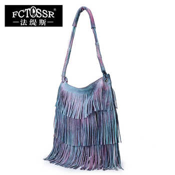 Leather Tassel Handbags 2019 New Models Shoulder Women Bag Vintage Handmade Genuine Leather Hobos Messenger Bag - DISCOUNT ITEM  52% OFF All Category