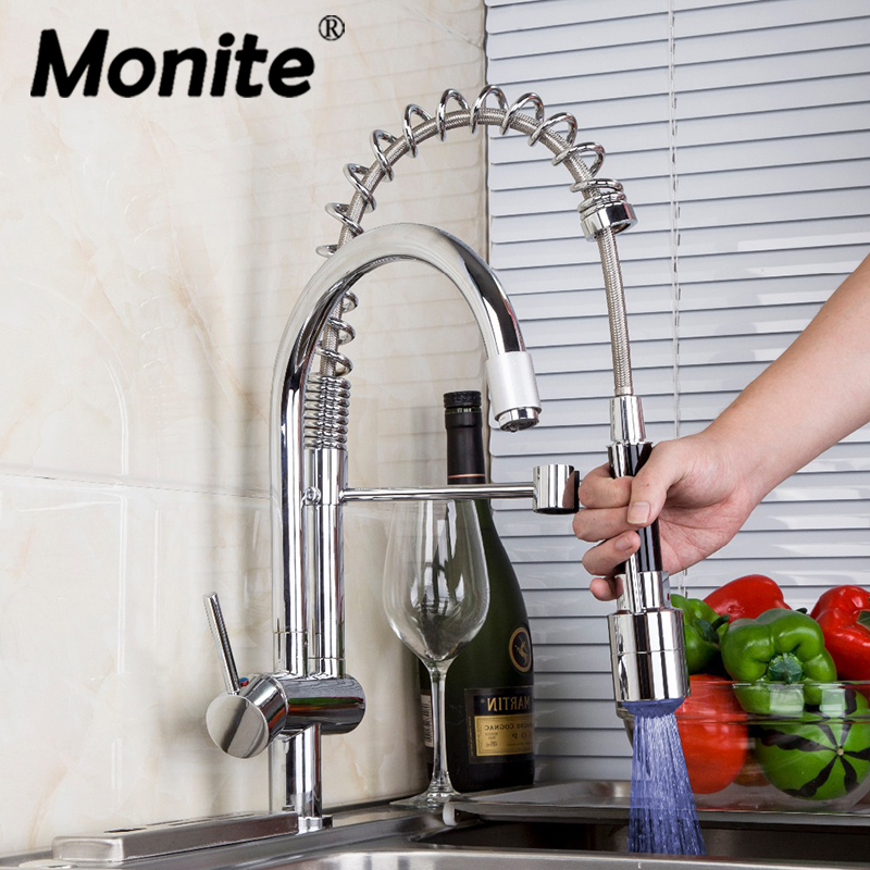 Pull Out Kitchen Faucet Chrome Polished Double Spouts LED Spray Rotated Kitchen Faucets Mixer Tap Swivel