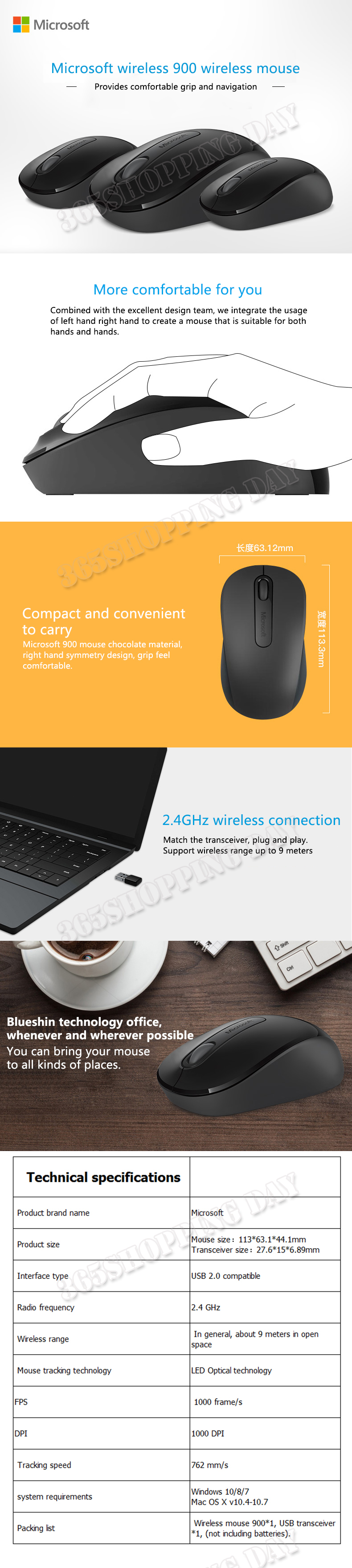 Details about Microsoft 900 2 4GHZ Wireless Mouse Portable Mute Office  Desktop PC Silent Mice