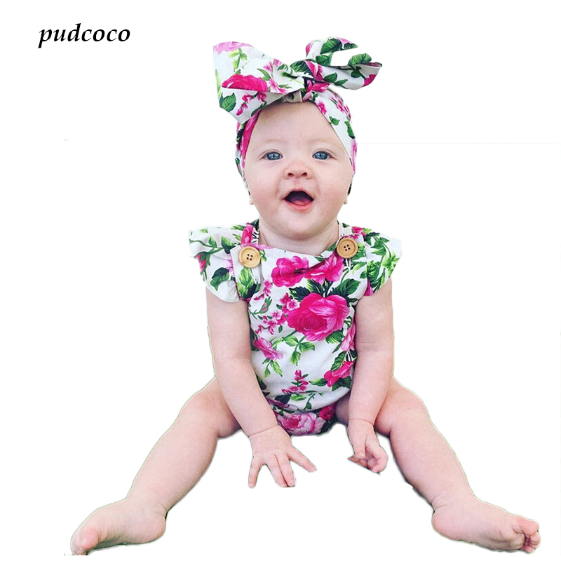 Newborn Baby Girls Clothes Floral   Romper   Jumpsuit + Headband One-Pieces Clothes 2pcs Outfits