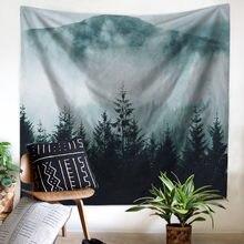 Tapiz psicodélico de Luna y sol con paisaje Natural para colgar en la pared, toalla de playa, manta, casa de campo, decoración Bohemia para el hogar