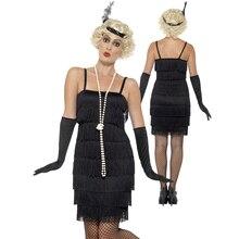 צ רלסטון גטסבי שמלת סנפיר שוליים 8 שכבות טאסל המפלגה תלבושת נשים 1920s השואג 20s תלבושות סקסי Stappy שחור שמלה