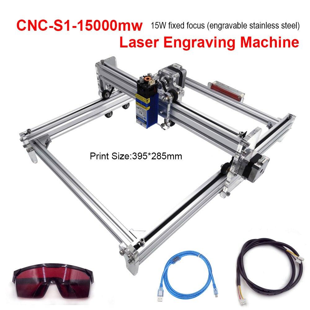 15w Laser CNC Machine de découpe TTL PWM contrôle 395*285mm zone Laser Machine de gravure Laser sculpture Machine à bois routeur