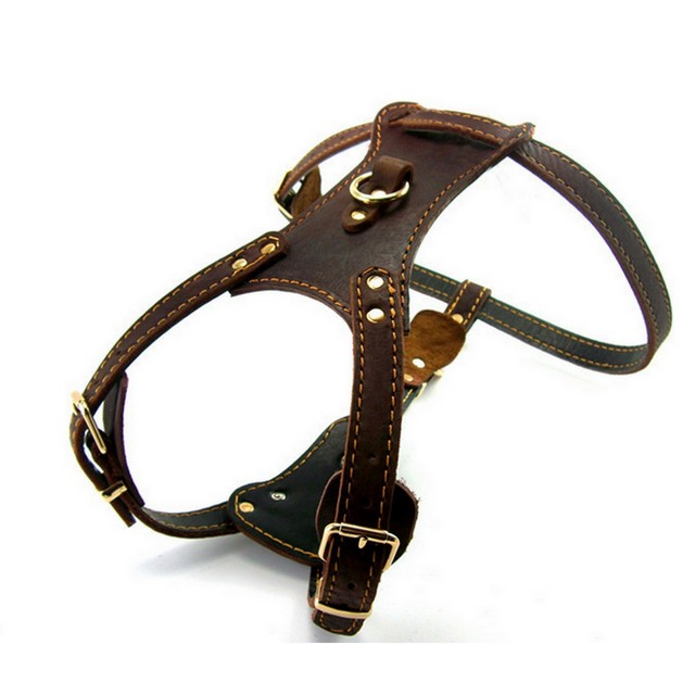 Genuine Leather Dog Vest Harness