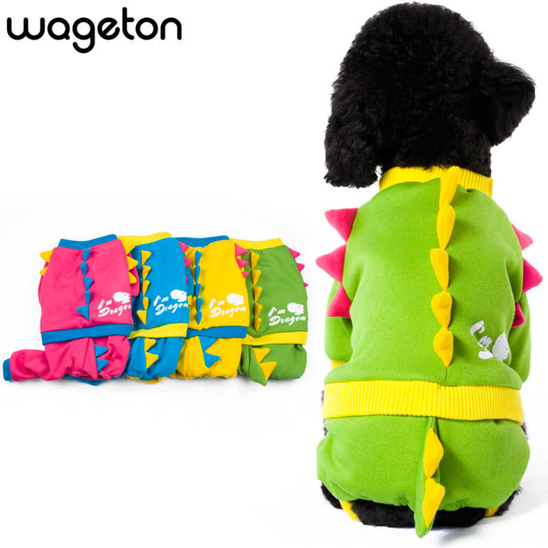 Wageton Dog Clothes DRAGON Jumpsuit Pet Puppy Cat Warm Coat Apparel Festival Costume Overalls for Chihuahua Yorkshire terrier