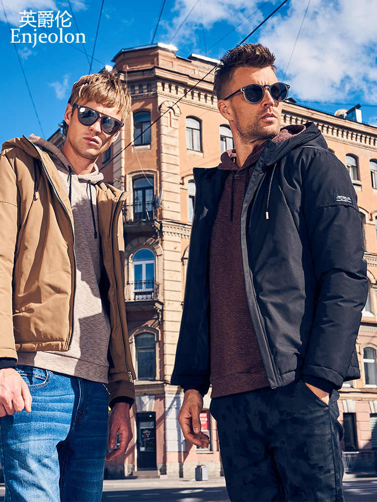 Enjeolon 真新しい冬の綿フード付き男性厚いパーカーパーカーコート男性キルティング冬ジャケットコート 3XL MF0731