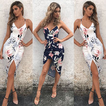 Maxi dresses strap floral print ruffles chiffon v neck dress sexy backless split beach summer dress