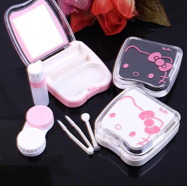 9613c2be9 New hello kitty contact lens case for eyes cute plastic eyeglass case for lenses  care box