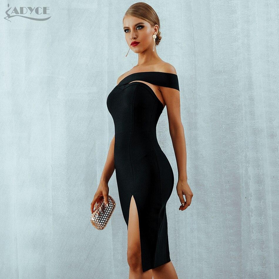 Adyce Bodycon Bandage Dress Vestidos Verano Summer Women Sexy Elegant White Black One Shoulder Midi Celebrity Party Dresses #2