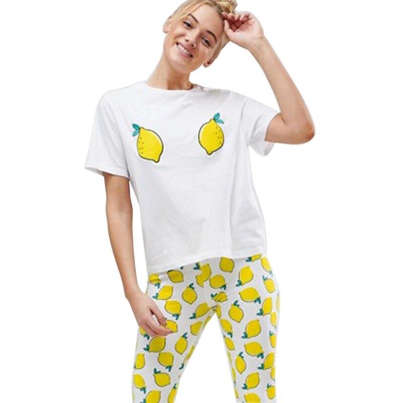 Hot Style Lemon Print Loose Tee Short Sleeve T-shirt Women Cotton T shirt Summer Casual  Fashion Female Tees Tops