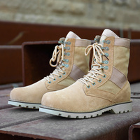 MangoBox Military Boots For Men Adult Beige Male Work Sneakers Mid Calf Man Combat Shoes Handsome