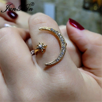 JUNXIN Boho Female Open Star Moon Rings For Women 1