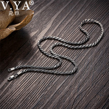 V.YA Retro Twist Rope Chain Necklace for Men Women 925 Sterling Silver Necklace Mens Black Thai Silver Jewelry