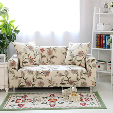 Floral Printing Stretch Elastic sofa cover cotton sofa towel Slip-resistant sofa covers for living room fully-wrapped anti-dust cheap S-EMIGA Printed American Style PLANT Sectional Sofa 100 Polyester