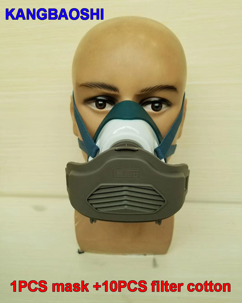 high quality respirator dust mask PM2.5 Dust particles rubber filter mask 10 pieces of filter cotton Super practical type silicone abs dust filter respirator mask dark grey