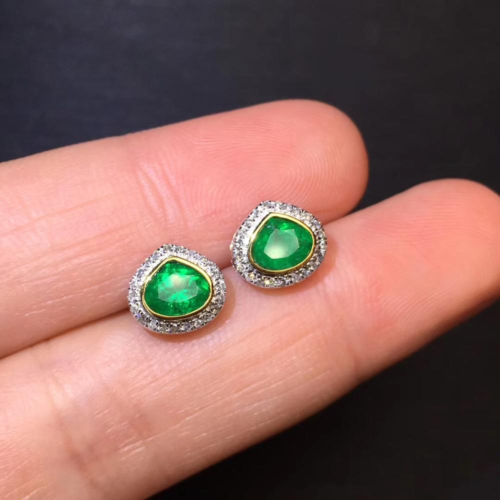 Fine Jewelry Pure 18 K White Gold AU750 100% Natural Vivid Green Emerald Gemstones 1.03ct Diamonds Stud Earrings for Women