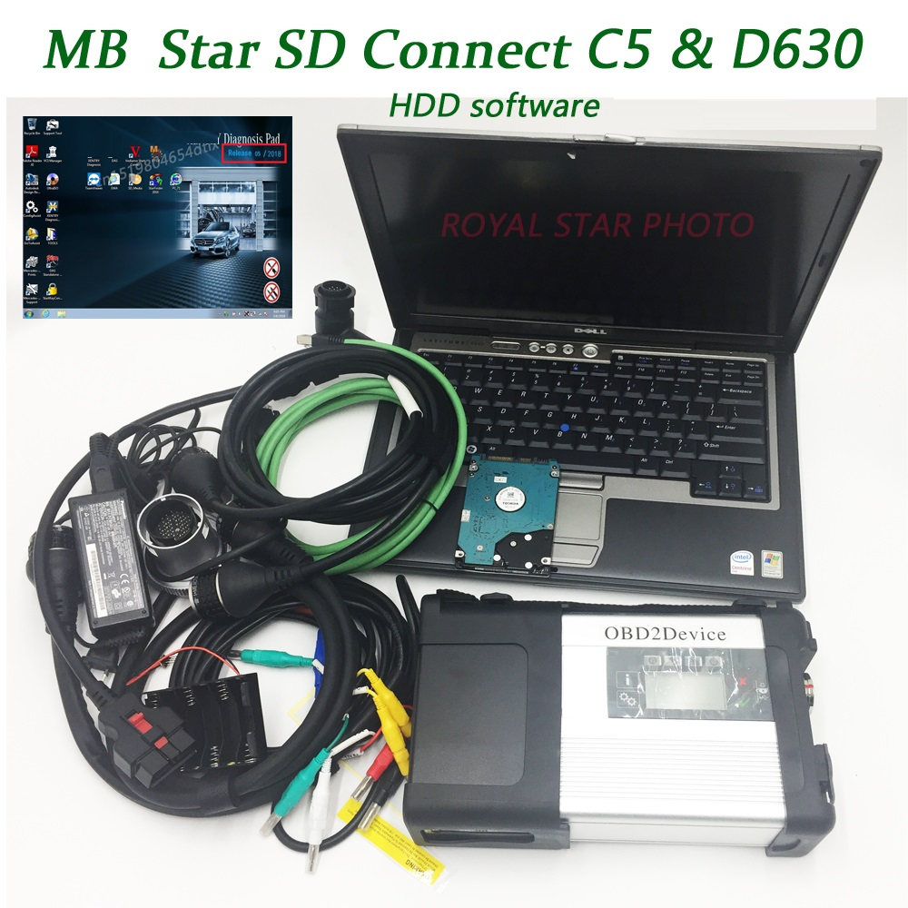 High quality MB star SD C5 with newest V09.2018 HDD software free install with Laptop D630 for MB Vehicles diagnostic C4 update цена 2017