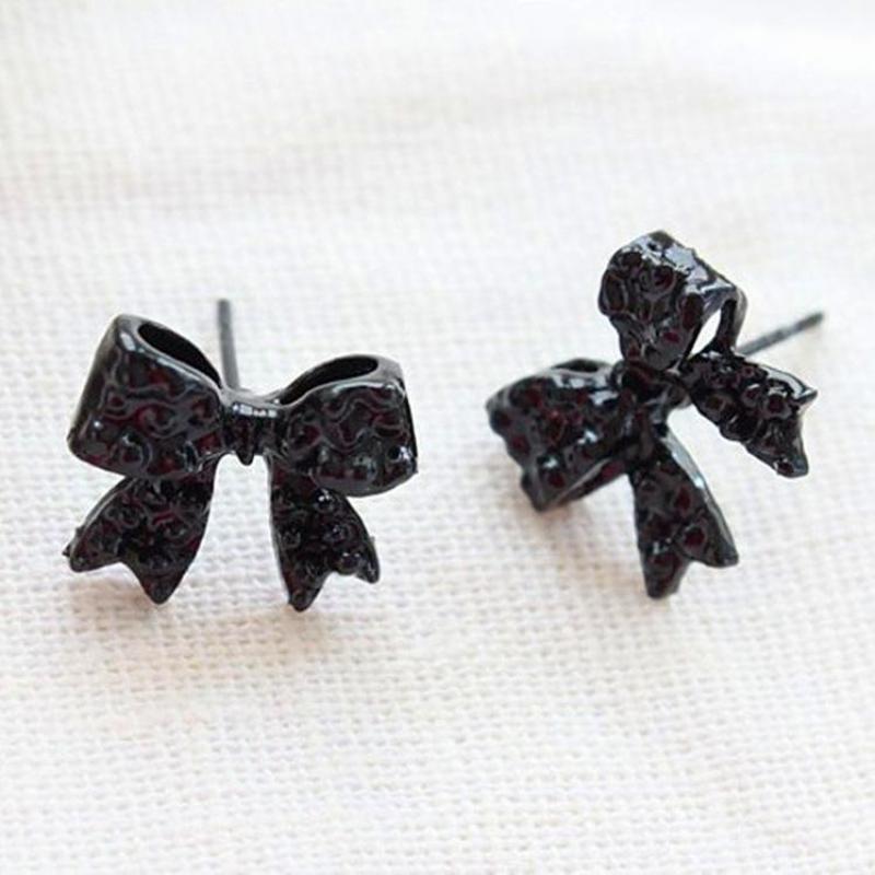 Bow Earrings Black Jewelry Korean-Fashion Wholesale Gift Generous Temperament Brincos