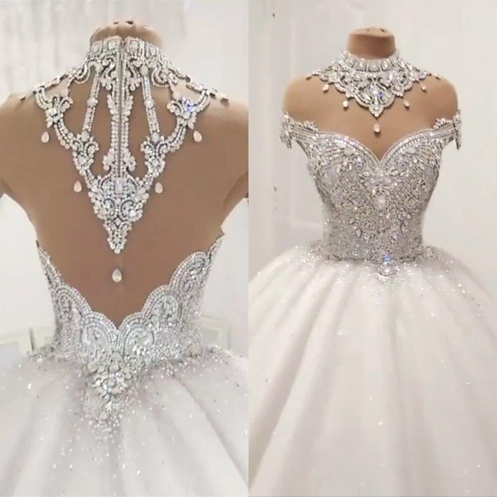 Custom Made Luxury Ball Gown Fluffy Glitter Tulle Crystal Beaded Diamond Formal Wedding Dresses Bridal Gowns