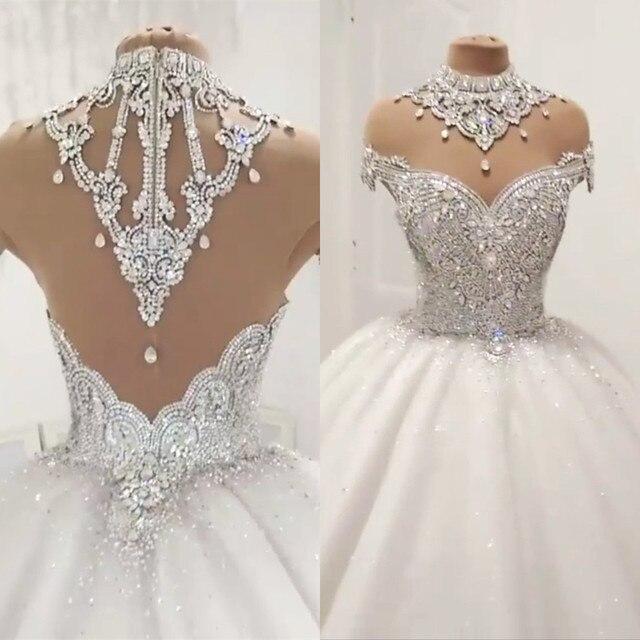 Custom Made Luxe Baljurk Pluizige Glitter Tulle Crystal Kralen Diamant Formele Trouwjurken Bruidsjurken SC12