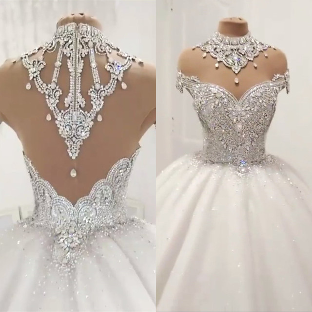 Custom Made Luxury Ball Gown Fluffy Glitter Tulle Crystal Beaded Diamond Formal Wedding Dresses Bridal Gowns   SC12