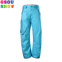 2017 Gsou Snow Snowboard Pants Men Outdoor Skiing Pants Waterproof Windproof Breathable Snow Trousers Plus Size