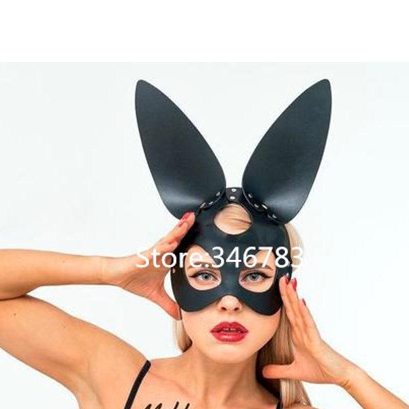 Happyyami Half Face Rabbit Mask Bunny Ear Eye Mask for Halloween Party Costume Cosplay Accessory