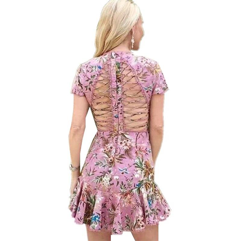 New Summer Auto Portrait Robe 2018 Femme Sexy croix bandage Rose Floral Imprimé Mini Parti Robe Courte sirène robe de festa