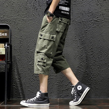 Solid Color Calf-Length Pants Safari Style Multi-Pockets Mens Elastic Waist Large Size Black Green