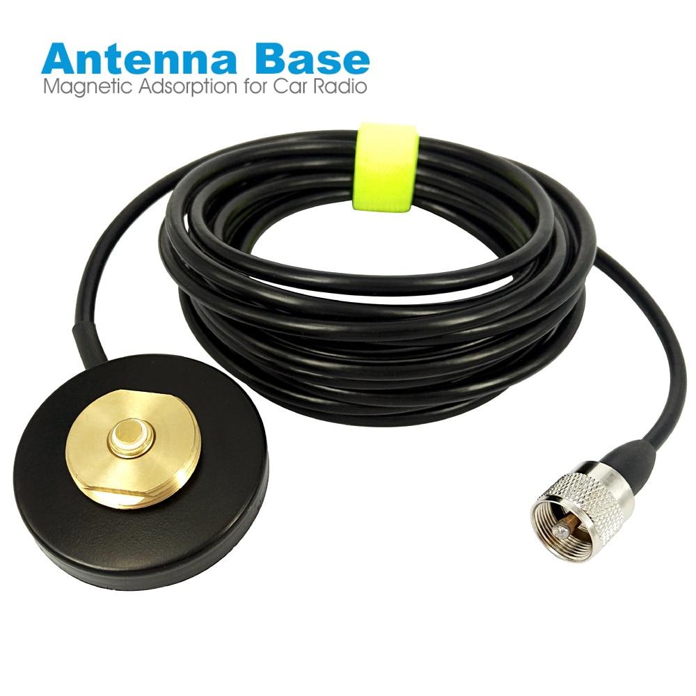 NMO Antenna Base 5M Feeder Cable 5.5cm Magnet Mount Bracket To Walkie Talkie Car Radio UHF PL259