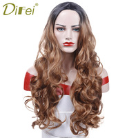 Long Wavy Wig Omber Black Brown Hair Costume Party Synthetic Hair High Temperature Fiber Cosplay Wig