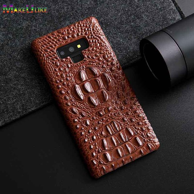 competitive price 702c5 6e9bb US $13.49 10% OFF|Note 9 Genuine Leather Case For Samsung Galaxy Note 9  Case Luxury 3D Crocodile head Back Phone Case For Samsung Note9 Cover-in ...