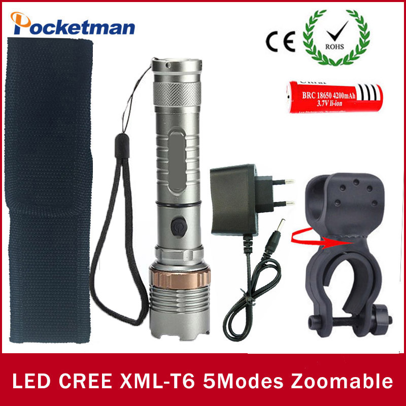 1set Super Bright <font><b>LED</b></font> flash light Torch cree xm-l t6 <font><b>LED</b></font> linterna tactica <font><b>zaklamp</b></font> + 18650 battery+Charger+ Holder flashlight