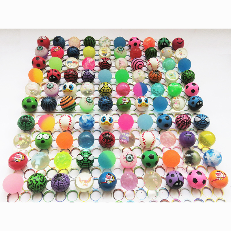 30mm 100pcs lots water Float ball toys mixed pattern Bouncing Ball child kids elastic rubber ball