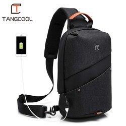 b1732e9e8f54 Tangcool Fashion Men Messenger Bag Men USB Charging Design Man Chest Bag  Pack Anti Theft Shoulder